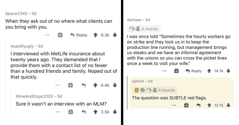 ask reddit, reddit, funny comments, jobs, careers, funny stories, job application, job memes, work, work sucks, bosses, red flag | Space2345 5d they ask out no where clients can bring with Reply 6.3k stupidlyugly 5d interviewed with MetLife insurance about twenty years ago. They demanded provide them with contact list no fewer than hundred friends and family. Noped out quickly. 4.4k WineAndDogs2020 5d Sure wasn't an interview with an MLM? | once told Sometimes hourly workers go on strike and