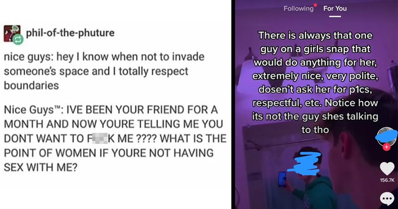 memes, nice guys, cringe, yikes, misogyny, funny, fail, reddit, wtf, dating, cringe posts, incels, social media | phil phuture nice guys: hey know not invade someone's space and totally respect boundaries Nice Guys IVE BEEN FRIEND MONTH AND NOW YOURE TELLING DONT WANT FUCK IS POINT WOMEN IF YOURE NOT HAVING SEX WITH ? | There is always one guy on girls snap would do anything her, extremely nice, very polite, dosen't ask her p1cs, respectful, etc. Notice its not guy shes talking tho