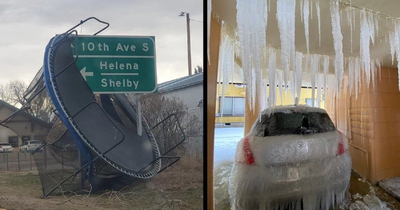 disasters, mistakes and failures | trampoline stuck on a road sign | car parked under a leaky cover frozen with water