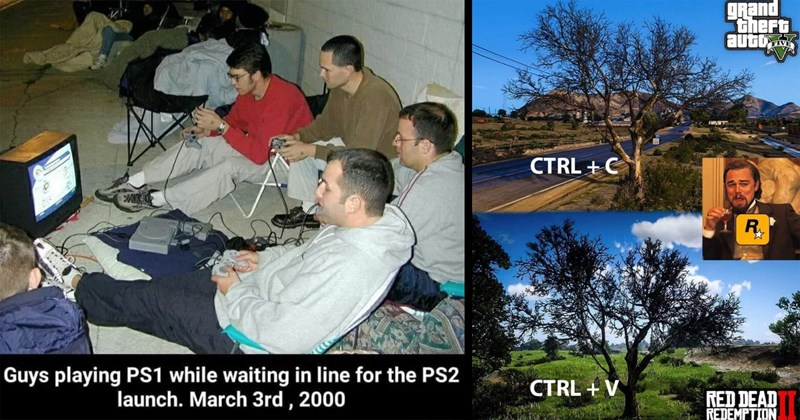 gaming, video games, gaming memes, cyberpunk, nintendo, sony, consoles, pc gaming, memes, funny memes, gta v, red dead redemption | Guys playing PS1 while waiting line PS2 launch. March 3rd 2000 | grand theft auto CTRL C R. CTRL V RED DEAD REDEMPTION