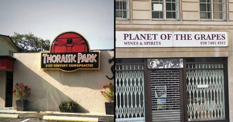 business names that are puns | THORASSIC PARK 21ST CENTURY CHIROPRACTIC Jurassic park | PLANET GRAPES WINES SPIRITS 020 7405 4912 NETOFTHEGRAPES.CO.UK Planet of the apes