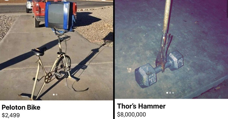 strange and stupid things people posted for sale online | Peloton Bike $2,499 stationary bike with a tv screen taped to it | Thor's Hammer $8,000,000 weight with a handle