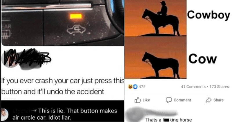 funny dumb people who misunderstood jokes | If ever crash car just press this button and 'll undo accident r This is lie button makes air circle car. Idiot liar. | Cowboy Cow That's fucking horse