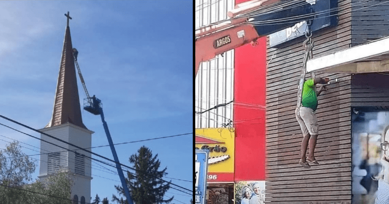 funny, stupid and cringeworthy construction | person standing on a ladder balanced on a crane | person sitting in an unsafe harness thing fixing a wall