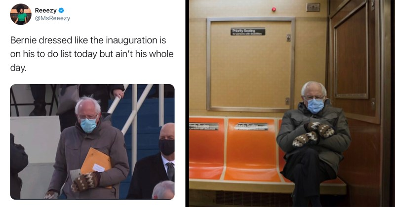 twitter, twitter memes, funny tweets, twitter, bernie sanders, bernie sanders memes, inauguration, funny memes, memes, trending memes, joe biden | Reeezy O @MsReeezy Bernie dressed like the inauguration is on his to do list today but ain't his whole day. | Bernie sitting in public transportation