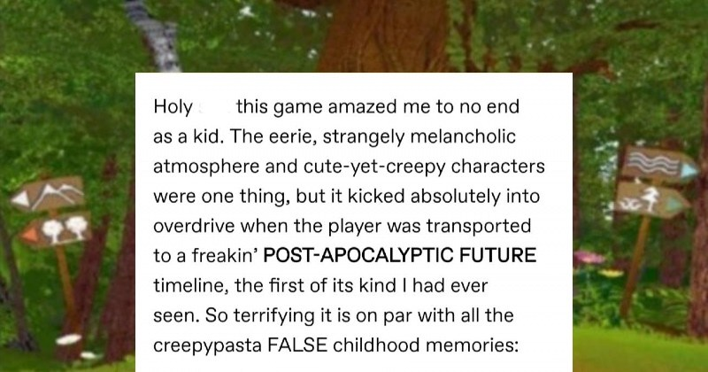 Tumblr users pay homage to the fever dream game that was Forestia. | Holy shit this game amazed no end as kid eerie, strangely melancholic atmosphere and cute-yet-creepy characters were one thing, but kicked absolutely into overdrive player transported freakin' POST-APOCALYPTIC FUTURE timeline first its kind had ever seen. So terrifying is on par with all creepypasta FALSE childhood memories: