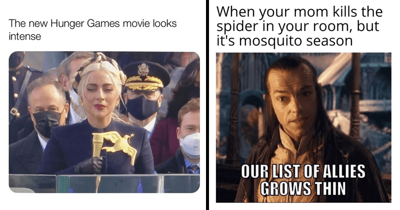 Funny random memes, inauguration memes, dank memes, relatable memes, stupid memes, lady gaga, hunger games, elrond, lord of the rings, hugo weaving | new Hunger Games movie looks intense Lady Gaga in a coat with a big gold bird on it | mom kills spider room, but 's mosquito season OUR LIST ALLIES GROWS THIN