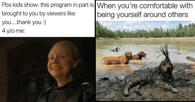 wholesome memes for positivity | Pbs kids show: this program part is brought by viewers like thank 4 y/o smiling Brienne | comfortable with being yourself around others dog covered in mud