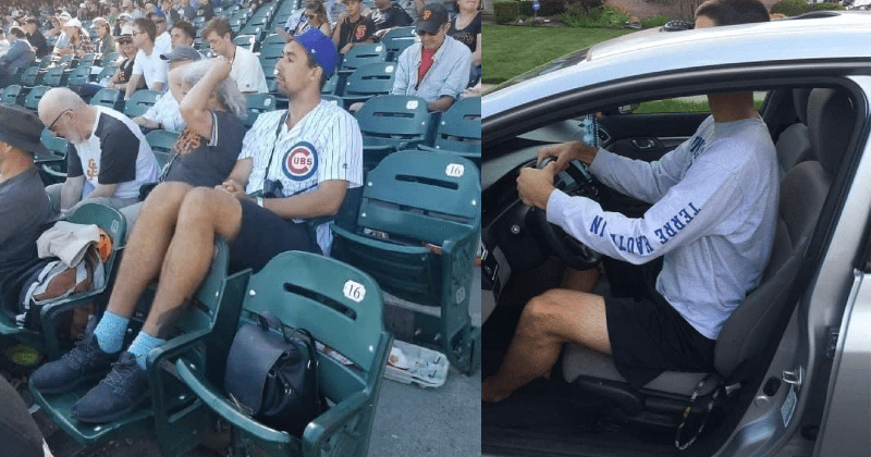 A collection of tall people problems that tall people can relate to. | man sitting on a chair with his feet on the chair in front of him | person driving a car with his head poking out of the sunroof