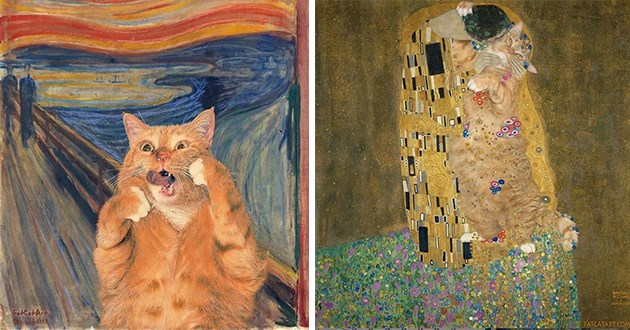 fat cat added to a bunch of famous paintings - thumbnail of fat cat in the painting scream and the painting the kiss