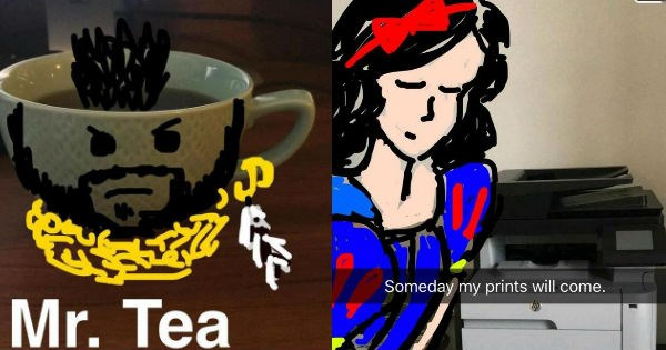 funny and punny snapchats with doodles of Mr. T and Snow white