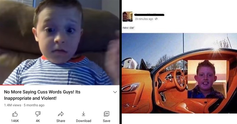 kids, youtube, funny kids, funny comments, youtube comments, funny screenshots, childhood, memes | No More Saying Cuss Words Guys! Its Inappropriate and Violent! | new car bad photoshop picture of a kid inside a car