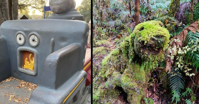 objects that look like they have faces or look like other stuff | statue of a furnace that looks like a face with a burning mouth | rock covered in moss in the shape of a dog