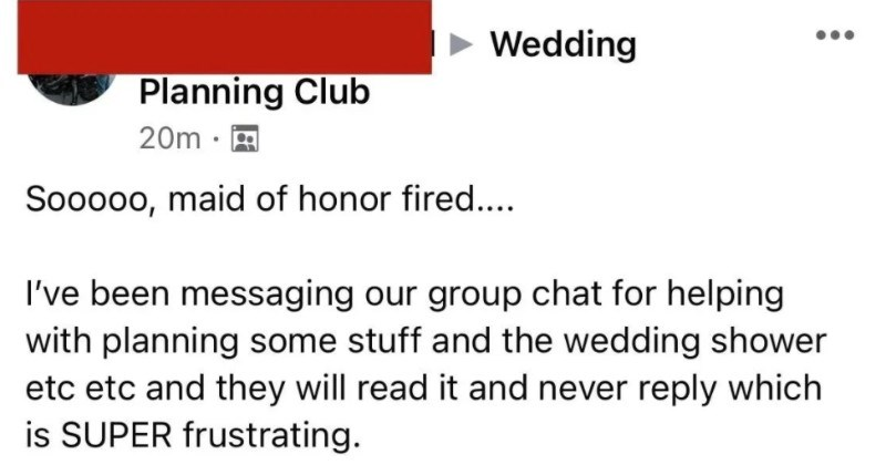 "Bridezilla fires her bridesmaids and then asks people if she was in the wrong for her behavior. | Wedding Planning Club Sooooo, maid honor fired been messaging our group chat helping with planning some stuff and wedding shower etc etc and they will read and never reply which is SUPER frustrating. This is entire exchange (COVID cancelled out r previous wedding date and she able return dress which cost less than $30 first place) She's calling childish and brat"" but yet she's one seeking"