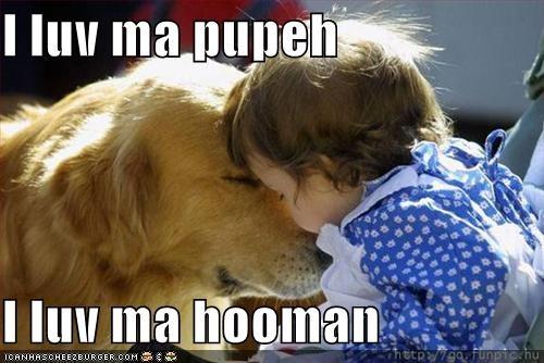 child golden retriever kissing - 1348777728
