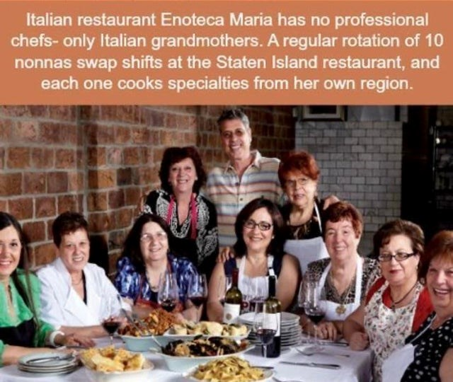 collection of cool videos and pictures |Person - Italian restaurant Enoteca Maria has no professional chefs- only Italian grandmothers regular rotation 10 nonnas swap shifts at Staten Island restaurant, and each one cooks specialties her own region.