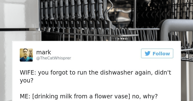 A collection of relatable and humorous marriage tweets. | Josh @iwearaonesie Follow wife forgot turn TV off last night [flashback leaving on so dog could finish watching Air Bud No didn't 4:15 PM 25 Jul 2016 6 17 622 V 1,252