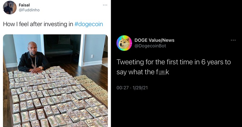 doge, dogecoin, crypto currency, stock market, gamestop, meme stocks, crypto, fnuny memes, funny tweets, twitter memes, doge memes | Faisal @Fuddinho How I feel after investing in #dogecoin | DOGE value/News @DogecoinBot Tweeting for the first time in 6 years to say what the fuck