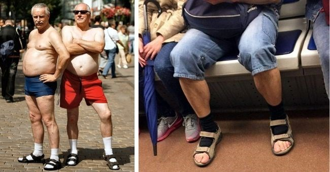 pictures of men wearing socks and sandals, committing the worst fashion crimes