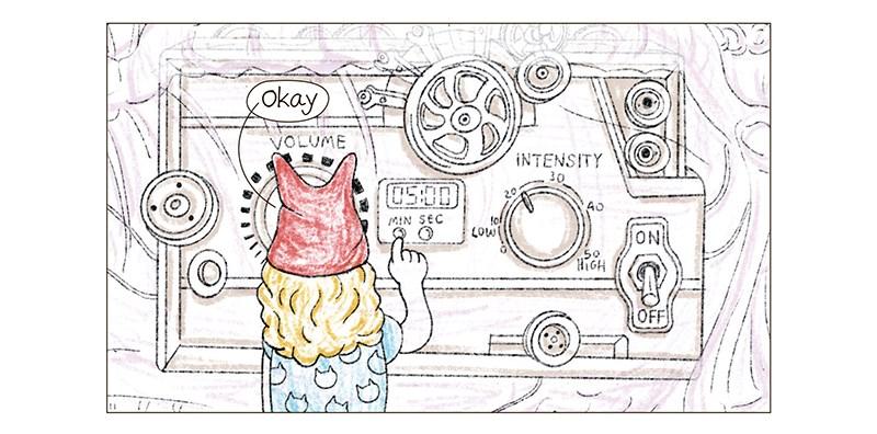 turning on the cat purring machine - thumbnail of machine