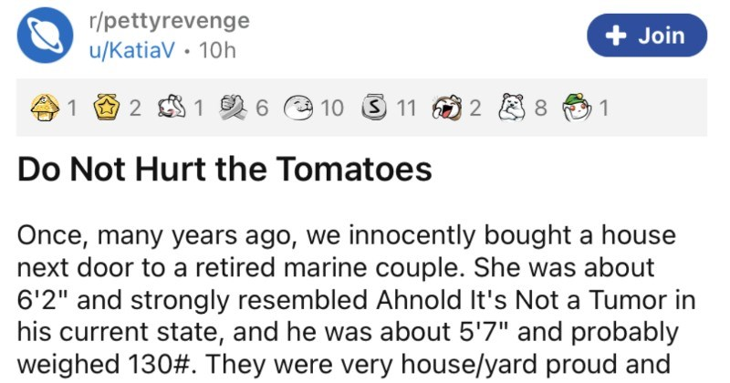 "Nasty neighbors kill couple's tomatoes, so couple unleashes army of ants. | r/pettyrevenge Join u/KatiaV 10h 1 6 O 10 3 11 1 Do Not Hurt Tomatoes Once, many years ago innocently bought house next door retired marine couple. She about 6'2"" and strongly resembled Ahnold 's Not Tumor his current state, and he about 5'7"" and probably weighed 130 They were very house/yard proud and and thoroughly obnoxious about ."