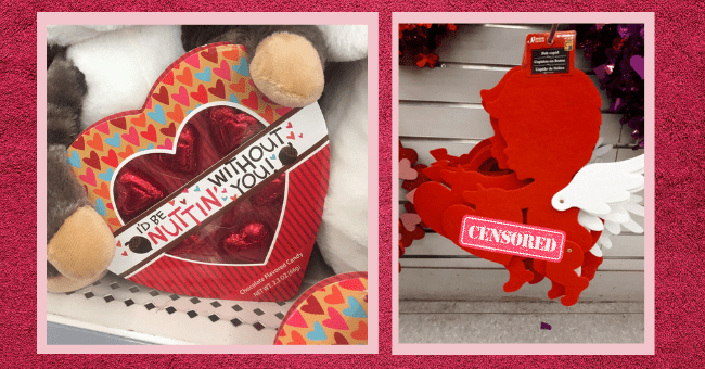 Thirteen hilarious valentines day fails| thumbnail text - Toy - D BE WITHOUT NUITIN YOU!N Chocolate Flavored Candy NET WT. 2.3 OZ (66g) Plant - 07-3060014 Felt cupid Cupidon en feutre Cupido de fieltro