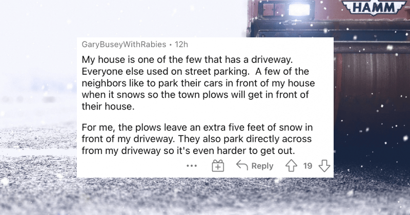 People describe their worst nightmare neighbor conflict tales. | GaryBuseyWithRabies 12h My house is one few has driveway. Everyone else used on street parking few neighbors like park their cars front my house snows so town plows will get front their house plows leave an extra five feet snow front my driveway. They also park directly across my driveway so 's even harder get out.