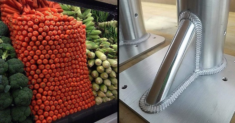 pleasing and satisfying images of things lining up prefectly | perfectly stacked carrots at a store | perfect welding of metallic poles