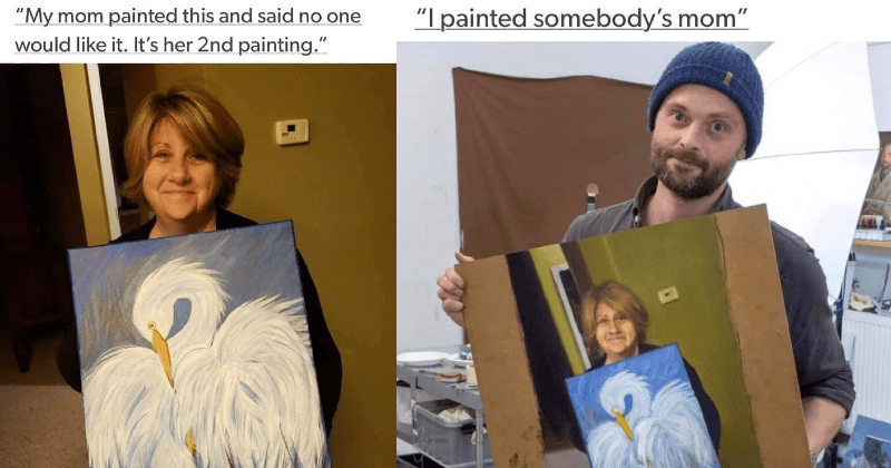 Internet bands together to go full on painting-ception mode. | My mom painted this and said no one would like s her 2nd painting. | painted somebody's mom Inception