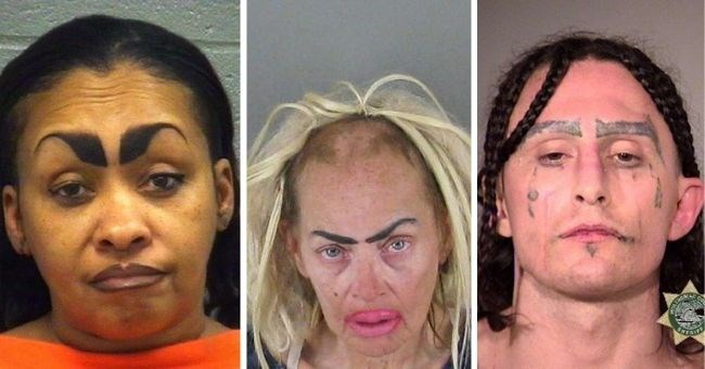mugshots of people with really bad eyebrows | thumbnail three images of people with bad eyebrows
