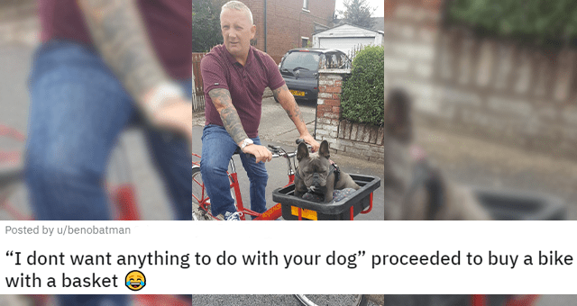 "posts about dads falling in love with the pets they didn't want thumbnail includes a picture of a dad on a bike with a dog in a basket in front of him 'I dont want anything to do with your dog"" proceeded to buy a bike with a basket u/benobatman'"
