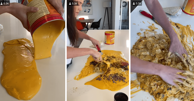 Twitter users react to horrifying and disgusting ultimate nachos hack, funny, wtf, cursed, fail | pouring liquid cheese on a table and mashing nachos into it