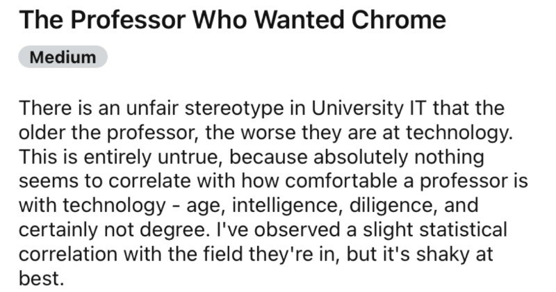 Professor wants Chrome installed on their computer, gets Chrome installed, still asks for Chrome.