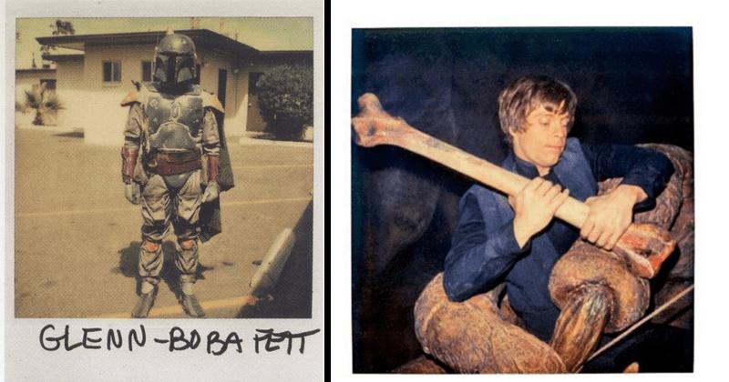 Rare Polaroids from production of Return of the Jedi, George Lucas, Lucasfilms, Carrie Fisher, Mark Hamill, Harrison Ford, behind the scenes | GLENN BOBA FETT | Luke Skywalker holding a giant bone