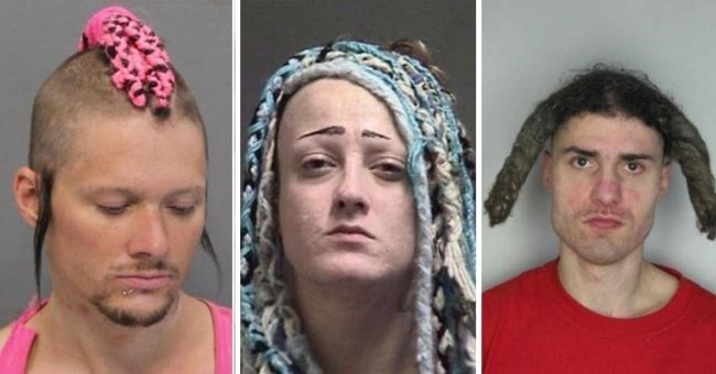 pictures of mugshots with really bad hairstyles | thumbnail three images