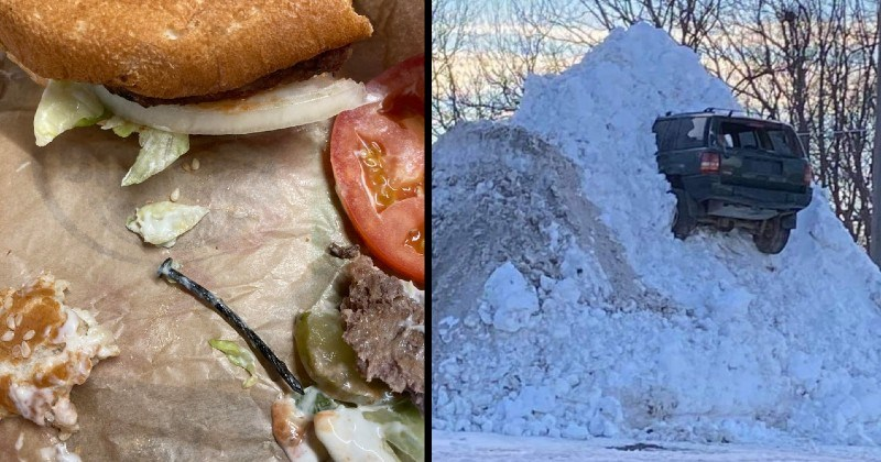misfortune and chaos | nail found inside a hamburger | car stuck in a pile of snow