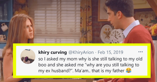 "Wittiest Breakup Tweets For Anyone Contemplating Their Love-Life| thumbnail text - khiry curving @KhiryArion Feb 15, 2019 so I asked my mom why is she still talking to my old boo and she asked me ""why are you still talking to my ex husband?"". Ma'am.. that is my father ... 404 27 62.1K 364.5K"