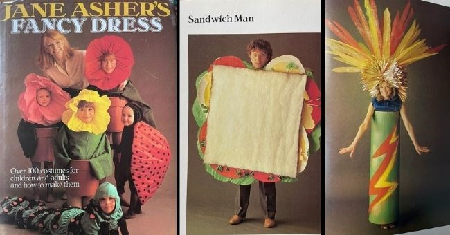 vintage book of funny fancy dress costume ideas for adults and kids Jane Asher's fancy dress sandwich man