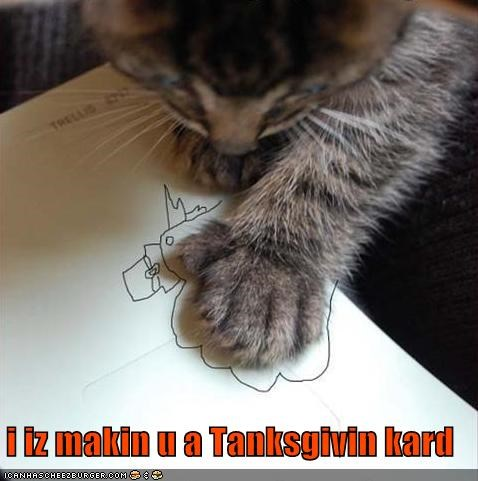 card Cats draw drawing hand lolcat paw picture thanksgiving Turkey