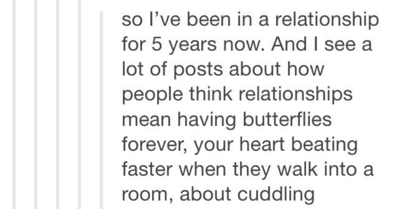 A Tumblr post about how relationships evolve over time