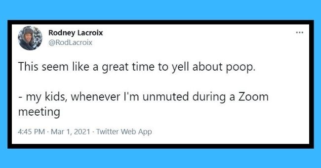 funniest dad tweets of the week | Thumbnail Text - Rodney Lacroix @RodLacroix ... This seem like a great time to yell about poop. - my kids, whenever I'm unmuted during a Zoom meeting 4:45 PM · Mar 1, 2021 · Twitter Web App 11 Retweets 43 Likes