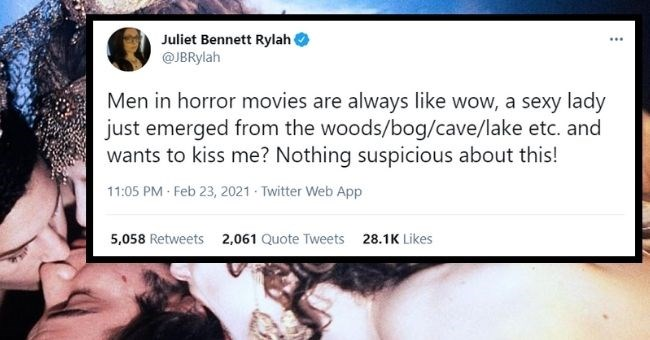 Twitter thread about how horny guys are easily led to their death in horror movies due to their inability to detect shady situations | thumbnail text - Men horror movies are always like wow sexy lady just emerged woods/bog/cave/lake etc. and wants kiss Nothing suspicious about this!