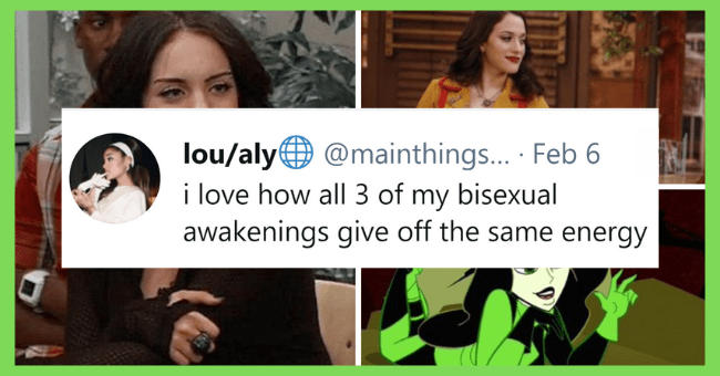 Funny Tweets About Being So Bisexual It Hurts| thumbnail text - Hair - lou/aly@ @mainthings.. · Feb 6 i love how all 3 of my bisexual awakenings give off the same energy