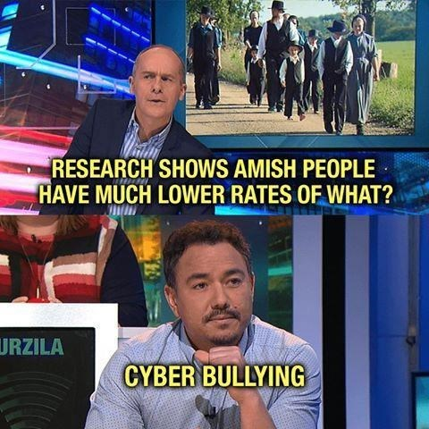 things that aren't wrong technically the truth funny lol unexpected answer infuriating dad jokes stating the obvious | RESEARCH SHOWS AMISH PEOPLE HAVE MUCH LOWER RATES URZILA CYBER BULLYING