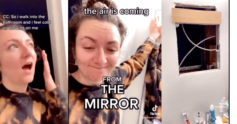 Woman discovers mysterious room behind bathroom mirror.