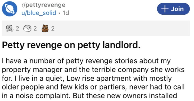 A tenant takes a petty revenge on an irritating landlord.