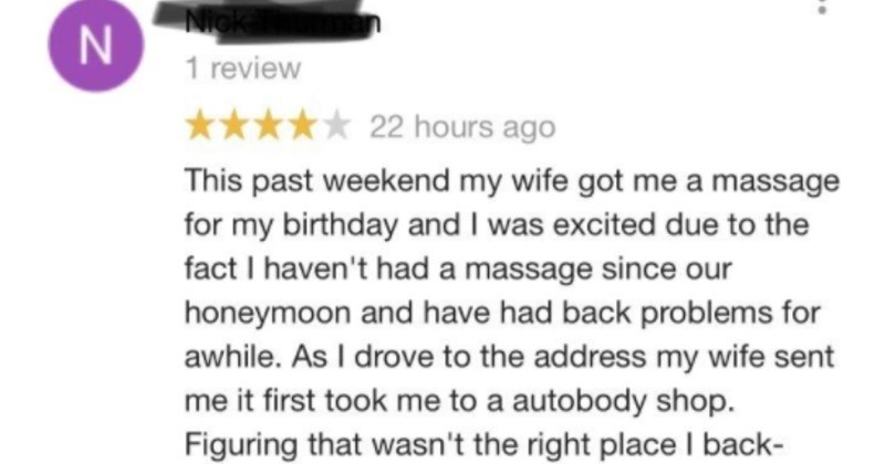guy leaves funny review for massage parlor