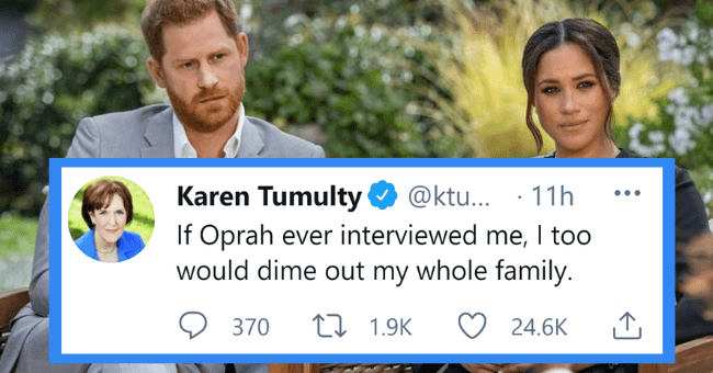 Twelve images that might expose your dirty mind| thumbnail text - @ktu... · 11h If Oprah ever interviewed me, I too would dime out my whole family. Karen Tumulty •.. 370 17 1.9K 24.6K
