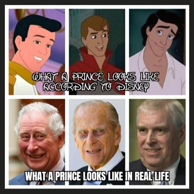 top funny hilarious dank random memes hilarious best of reddit relatable gaming video game dark humor shitposts shitposting | PRINCE LOCKS LIKE ACCORDING TO DISNEY PRINCE LOOKS LIKE REAL LIFE Little Mermaid Sleeping Beauty Prince Philip Charles British royalty
