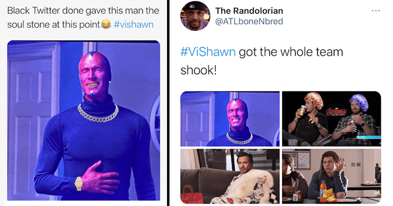 Funny memes and Tweets from Black Twitter making Vision into Vishawn, lol, humor, comedy, twitter memes, grills, chains, urban